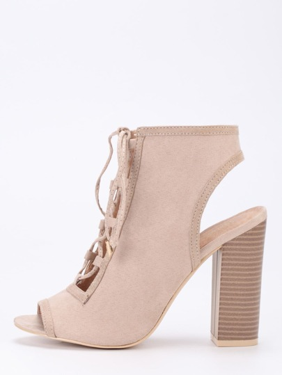 Faux Suede Lace-Up Peep Toe Sling Back Heels - Apricot