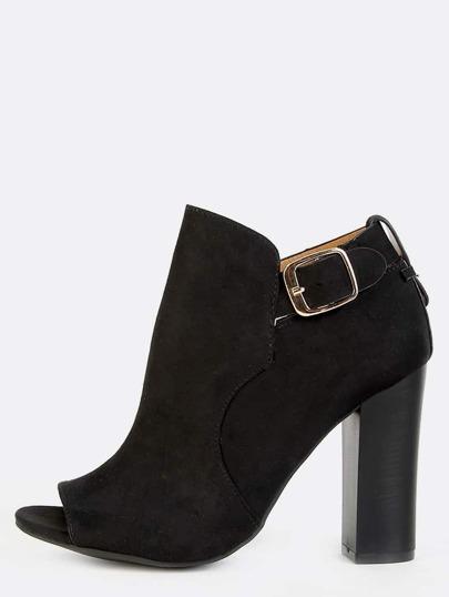 Ankle Strap Chunky Heel Booties BLACK