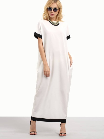 White Black Trim Contrast Pockets Long Dress