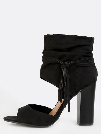 Fringe Ankle Cuff Chunky Heels BLACK