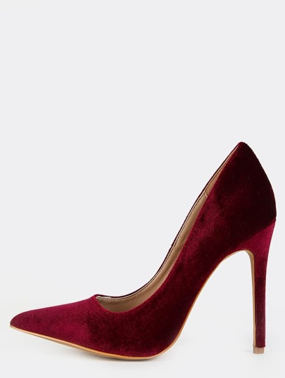 Stiletto Velvet Pumps WINE