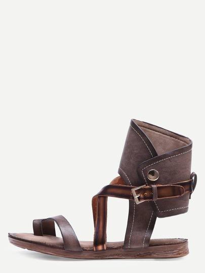 Coffee Buckle Strap Flat Sandals