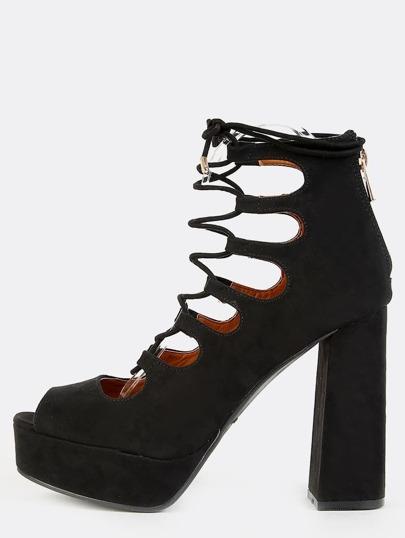 Faux Suede Peep Toe Platform Heels BLACK