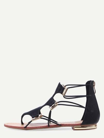 Black Zipper Cut Out Flip Flat Sandals
