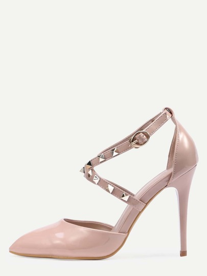 Apricot Patent Studded Ankle Strap Heels
