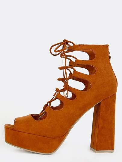 Lace Up Platform Chunky Heels CHESTNUT