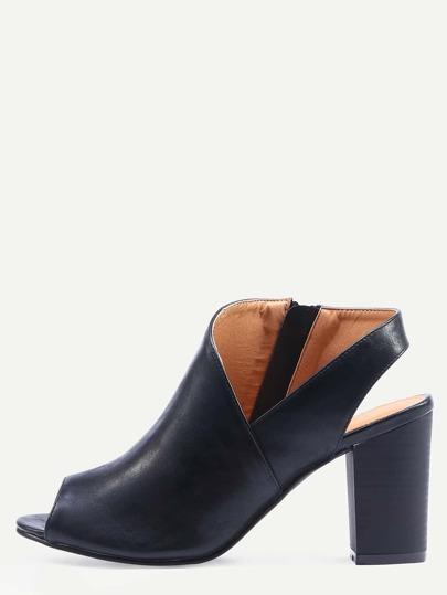 Asymmetric Cut High Vamp Stacked Heel Pumps - Black