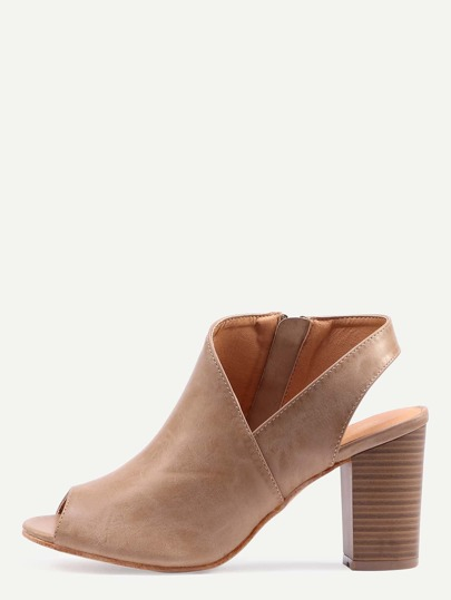 Asymmetric Cut High Vamp Stacked Heel Pumps - Apricot