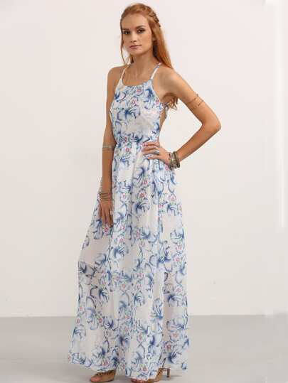 Halter Neck Florals Lace Up Back Chiffon Beach Dress