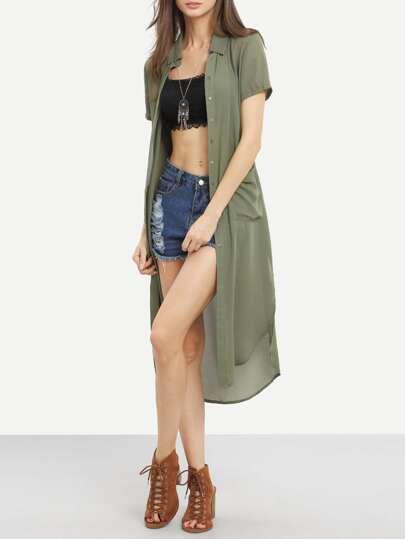 Army Green Pockets Tie Waist Dip Hem Outerwear