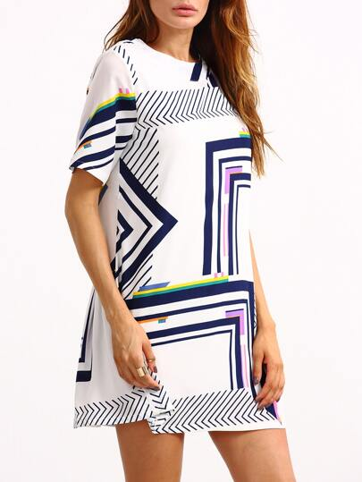 Pleated Back Multicolor Geometric Print Dress