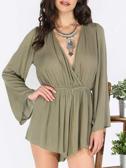 Army Green V Neck Tie Jumpsuit