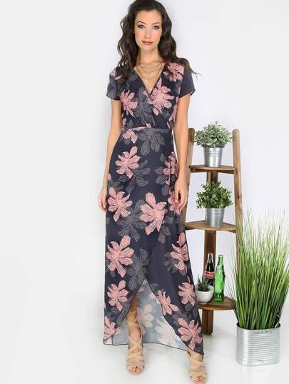 Multicolor Print Tie Waist Split Maxi Dress