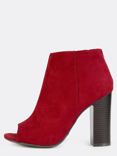 Peep Toe Stacked Heel Ankle Boots BURGUNDY