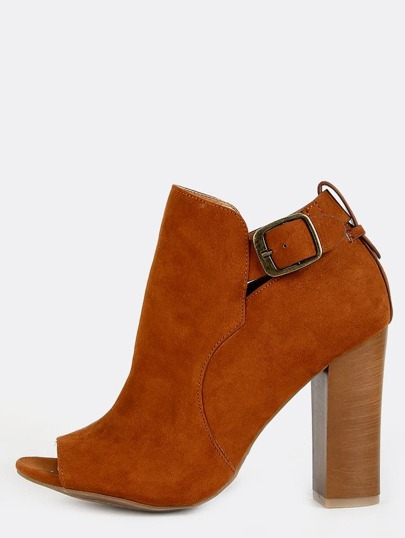 Peep Toe Ankle Strap Booties CHESTNUT