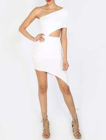 White One Shoulder Cut Out Asymmetrical Dress