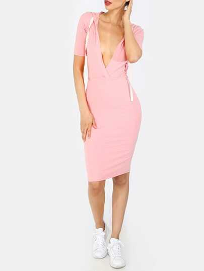 Pink V Neck Drawstring Hooded Midi Dress