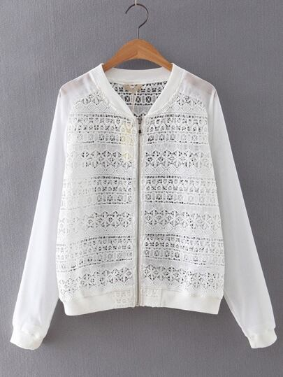 White Long Sleeve Rib-knit Cuff Crochet Jacket