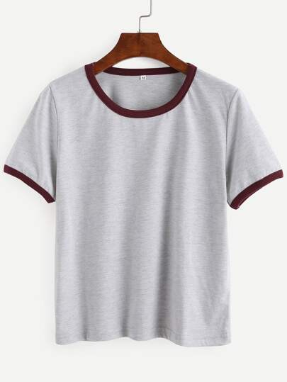 Grey Contrast Trim Crop T-shirt