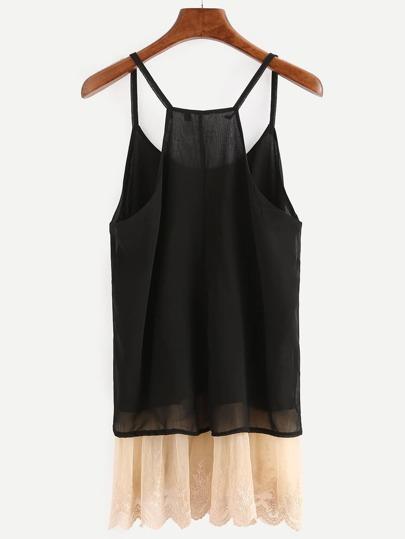 Black Contrast Lace Trim Cami Top