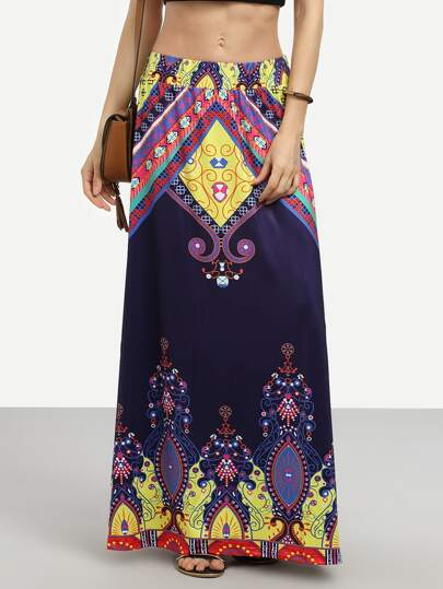 Blue Vintage Print Maxi Skirt