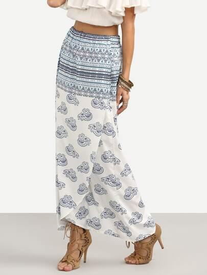 Blue Animal Print Wrap Maxi Skirt