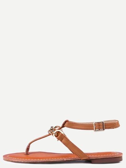 Sandalias planos correa de tobillo -camello