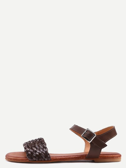 Brown Buckle Strap Flat Sandals