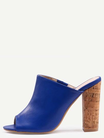 Blue Faux Leather Block Heel Mules