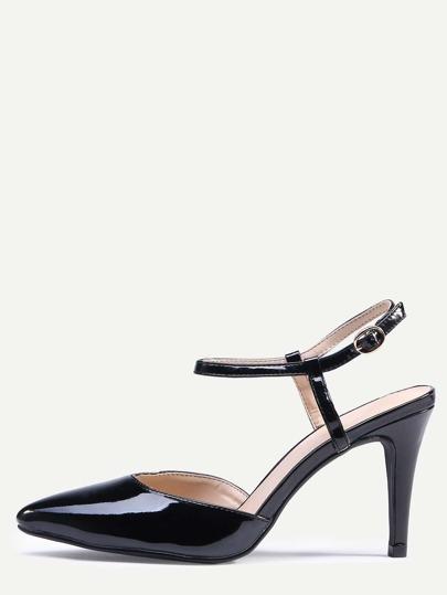 Black Pointed Toe Slingback Ankle Strap Pumps