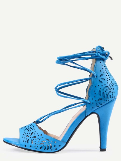 Laser-Cut Lace-Up Peep Toe D'orsay Sandals - Blue