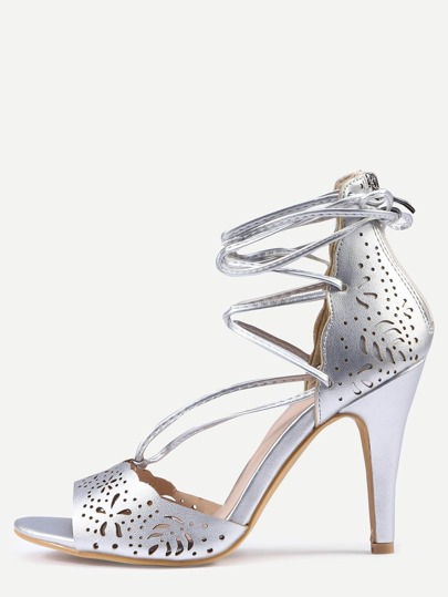 Laser-Cut Lace-Up Peep Toe D'orsay Sandals - Silver