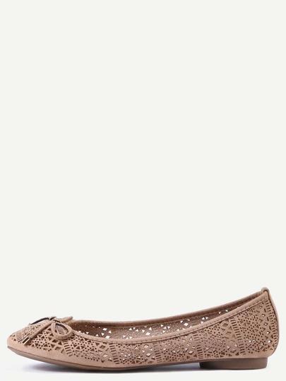 Faux Leather Bow Tie Ballet Flats - Khaki