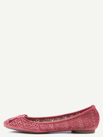 Faux Leather Bow Tie Ballet Flats - Pink