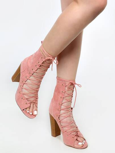 Lace Up Stacked Heel Ankle Booties DUSTY PINK
