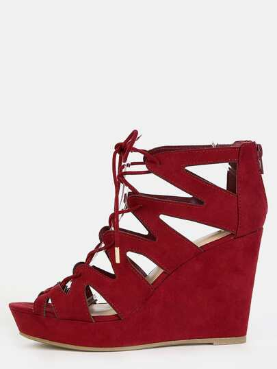 Faux Suede Laced Wedge Heels BURGUNDY