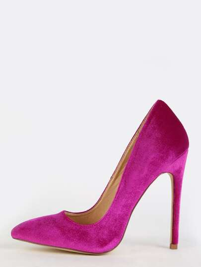 Velvet Pointed Toe Stilettos PURPLE