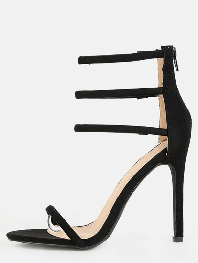 Triple Strap Suede Stiletto Heels BLACK