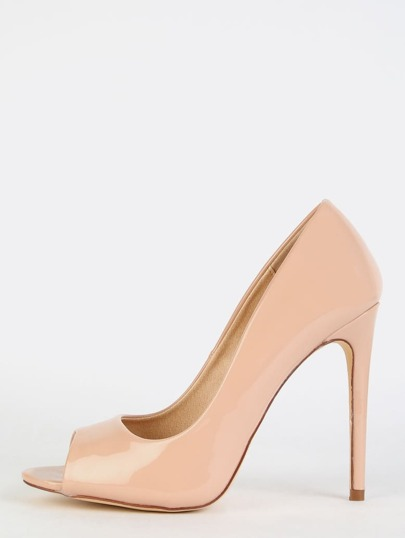 Patent Peep Toe Pumps NUDE