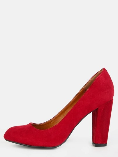 Faux Suede Chunky Pumps CRIMSON
