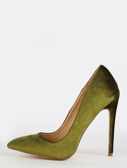 Stiletto Velvet Pumps OLIVE