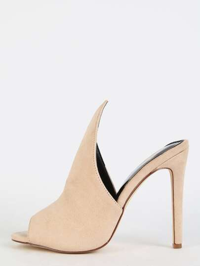 Geometric Cut Stiletto Mule Heels NUDE