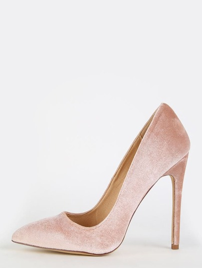 Stiletto Velvet Pointy Toe Heels NUDE