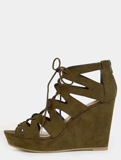 Geometric Cut Out Wedge Heels OLIVE