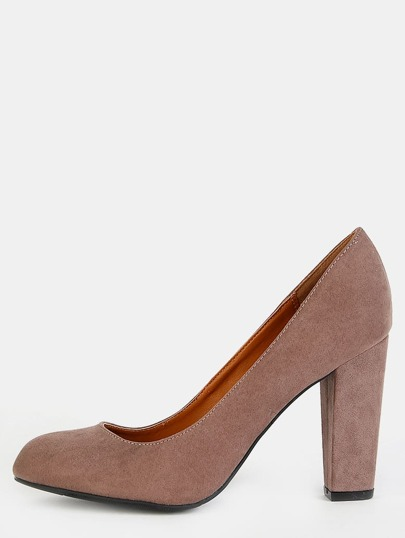 Faux Suede Round Toe Pumps TAUPE