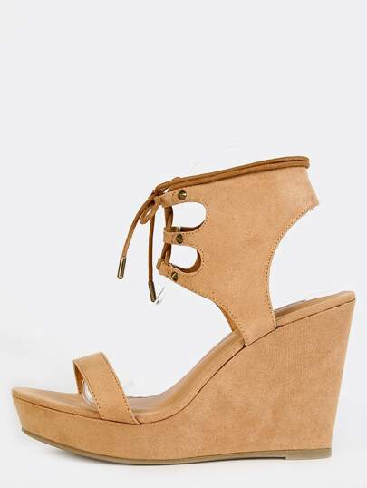 Open Toe Ankle Cuff Wedges NATURAL