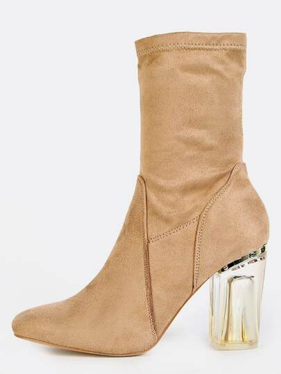 Transparent Heel Ankle Boots NUDE