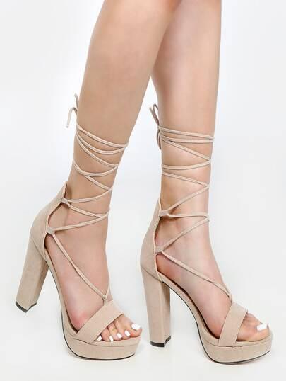 Platform Lace Up Chunky Heels NUDE