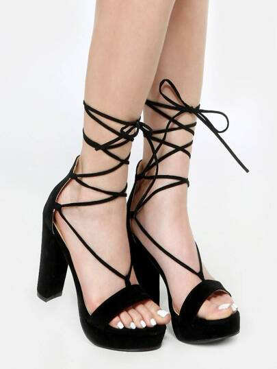 Open Toe Chunky Lace Up Heels BLACK