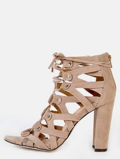 Cut Out Chunky Heel Booties NUDE
